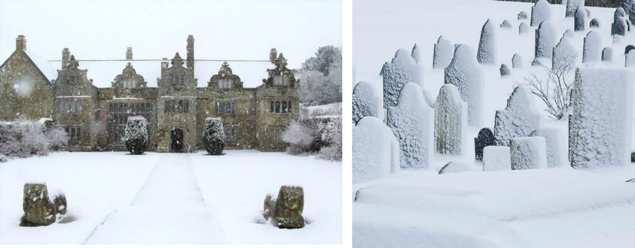House and Graves in Snow